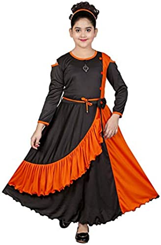 Girl s Cotton Lycra Blend Maxi Full Length Gown for Party Dress