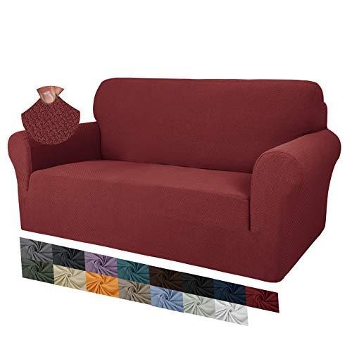 MAXIJIN Fodere per divano jacquard creative per 2 posti, 1 pezzo copridivano antiscivolo super elasticizzato per divano per cani protezione per mobili per animali domestici (2 Posti, Rosso)