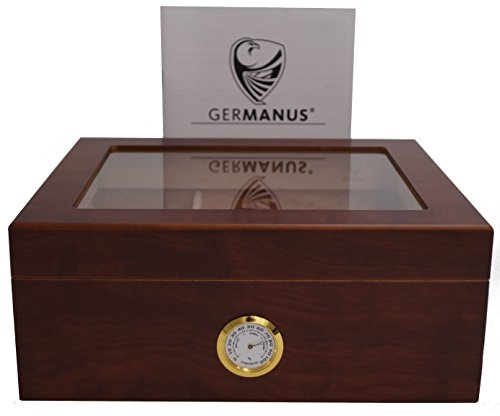 GERMANUS Humidor de Puros Classic Desk con Higrómetro y Humidificador y el Manual Germanus Libro en...