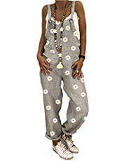 Sxgyubt Vrouwen Casual Jumpsuits Strappy Tuinbroek Verstelbare Daisy Printing Brede Been Pant