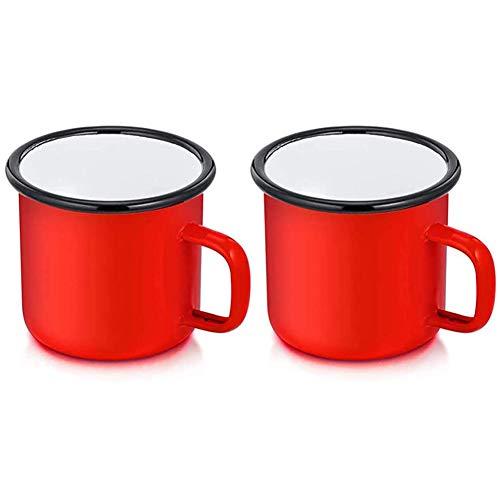 SYLC Taza esmaltada para café y té, taza esmaltada, ideal para el hogar/oficina/viajes/camping, reutilizable y portátil, 350 ml (rojo, juego de 2)