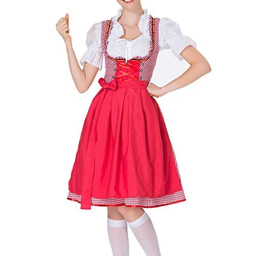 TIZUPI Herbst Kleider Damen,Dirndl-Set Oktoberfest Cosplay Kostüme Magd Kleidun Trachtenkleid Bekleidung-Damen Kleider, Schürze Bierfest(Rot,M