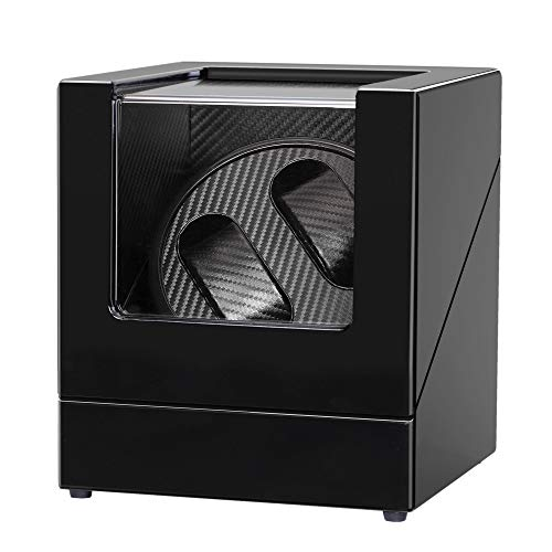 Double Watch Winder Quiet Motor Automatic Mechanical Watch Storage Box Wood Shell Piano Paint Exterior with 3D Flexible Watch Pillows