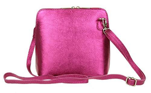 Girly Handbags - Bolso cruzados de Piel para mujer rosa fucsia