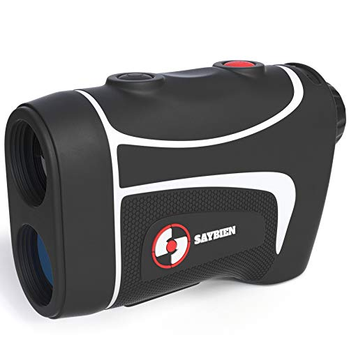 Saybien Golf Rangefinder - 500m Water Proof Golf Range Finder - Laser Range Finder - Tournament Legal - Scan Mode - Flag Lock (Black and White)