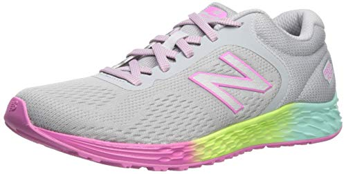 New Balance Fresh Foam Arishi V2 Lace-Up Running Shoe, Light Aluminum/Rainbow, 3.5 US Unisex Little Kid