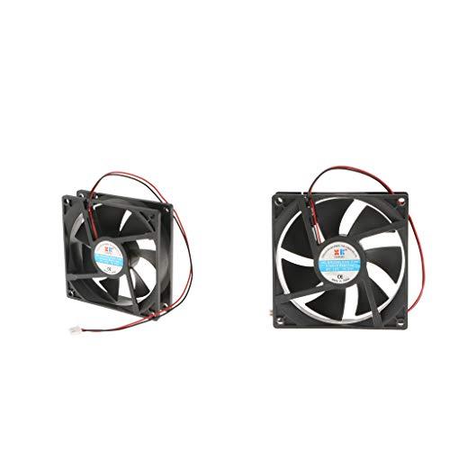 IPOTCH 2X 92x92x25 Mm Ventilador Silencioso para Caja 12V CPU Ventilador de Enfriamiento para Computadora 2Pin Negro