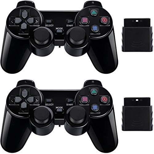 PS2 Wireless Controller 2.4G, Double Shock Dual Vibration Twin Shock Gamepad for Sony Playstation 2, Black 2 Pack