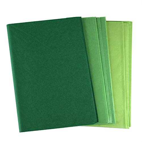 PLULON 60 Sheets Saint Patrick's Day Green Tissue Paper, Gift Wrapping Paper for DIY Gift Wrapping Birthday Wedding Holiday Paper Flower(Green)