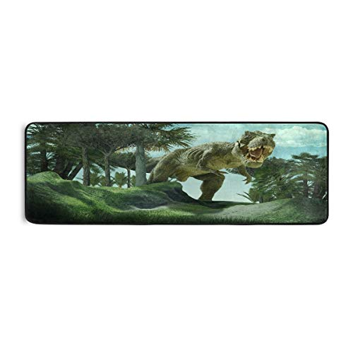 ALARGE - Alfombrilla antideslizante para el piso de cocina, diseño de dinosaurios africanos, para sala de estar, pasillo, dormitorio, baño, entrada, interior y exterior, lavable, 2 x 6 pies