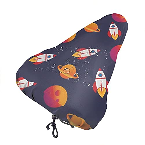 Ice Saddle Bike Cover Unisex Bright Planets And Rocket Bike Seat Cover Waterproof Dust-Proof Saddle Cover Protective Water Resistant Bicycle Saddle Cover