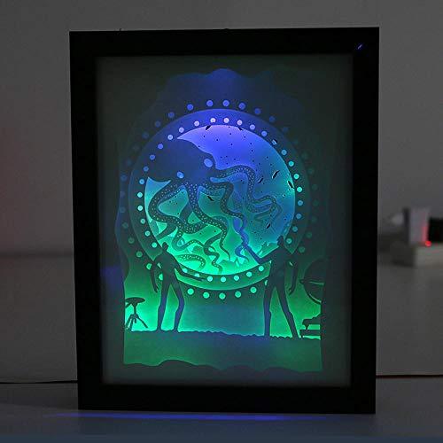 YCCYIA, kreative 3D-Papierschnitz-Lampe für Licht und Schatten Mondo Del Mare