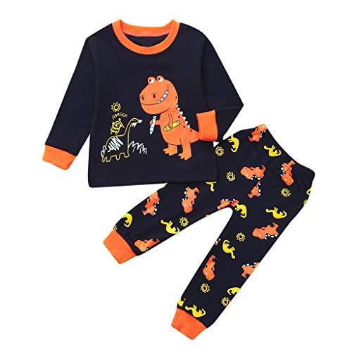 Jungen Dinosaurier Schlafanzug Langarm Herbst Winter Kinder Dinosaur Nachtwäsche Pyjama Sets Kids Mädchen Jungen Cartoon Tier Pjs Outfits Langarm Rundhals Children Nachtwäsche