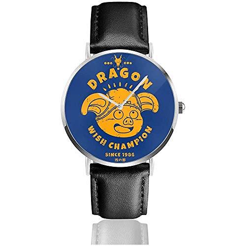 Dragonabll Z Dragon Wish Champoin Watches Reloj de Cuero de Cuarzo con Correa de Cuero Negra para Regalo de colección