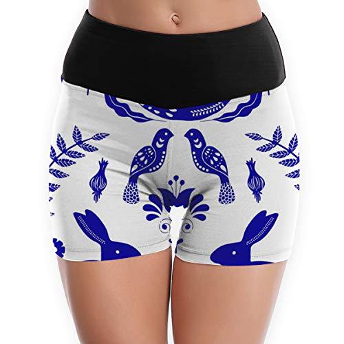 qingdaodeyangguo Scandinavian Folk Art Running Yoga Shorts For Women - Activewear Workout Exercise Athletic Jogging Shorts