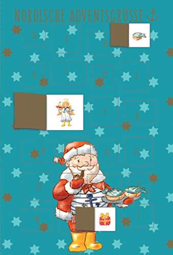 Cityproducts - 3565 - Kerstmis, adventskalender dubbele kaart: Nordic Adventsgroeten, Kerstman, DIN A6, met envelop