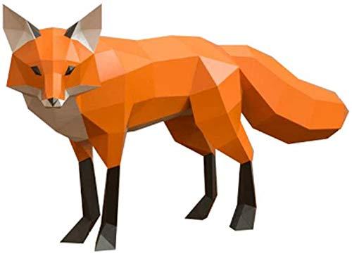 WQF Modelo de Papel de Origami 3D DIY Fox Paper Art Craft 3D Animal Montado en la Pared DIY Escultura Rompecabezas Juguetes de Papel Rompecabezas Regalos Hechos a Mano para Amigos y niños