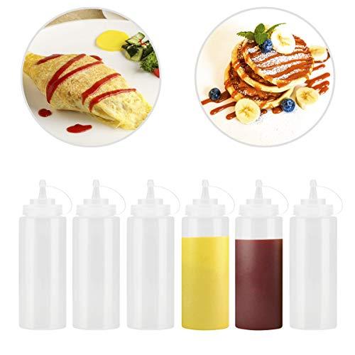 JJOnlinestore-6unidades plástico claro botella de apretar dispensador de condimentos Ketchup Mostaza Chili Salsa Mayonesa vinagre botellas tapa abatible., Transparente, 12 Oz / 375ml