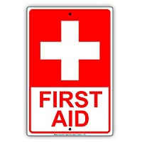 "First Aid withグラフィックレッドLetters職場安全保護警告注意Caution警告NoticeアルミニウムメタルTinサインプレート 12""x18"""