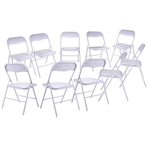 JAXPETY New 10PK Commercial White Plastic Folding Chairs Stack-able Wedding Party Chair w/Soft Cushion (White)