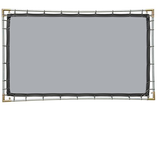 Carl's FlexiGray Hanging Projector Screen Kit (16:9 | 5x9-Ft | 120-in | Folded) Portable, Outdoor Projector Screen, HD, Low Ambient Light, High...