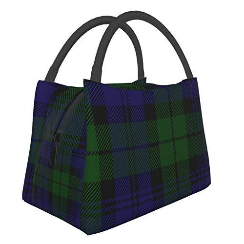 Bolsa de aislamiento portátil de color negro para reloj de tartán a la moda, portátil, aislante, bolsa de picnic para trabajo, escuela, viajes al aire libre, etc.