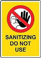 注意サイン-消毒は使用しないでください。通知のためのインチ通りの交通危険屋外の防水および防錆の金属錫の印