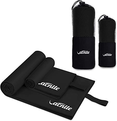VACNITE 2 Piezas Toalla de Microfibra Deportiva, Secado Rápido Toalla para Viajes Deportes Natación Yoga (Negro)