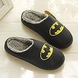 CCLIN Moda Hombres Zapatillas Fondo Grueso Invierno Inicio Inicio Indoor Hombres y Mujeres Zapatos de algodón de Lana Caliente Grande Tamaño-Batman,43-44