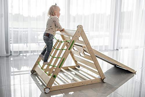 KU Dreieck Pikler Mit Rutsche & Tafel Transformierbares Kletterspielzeug, Entwicklungsspielzeug, Pikler für die frühkindliche Bildung