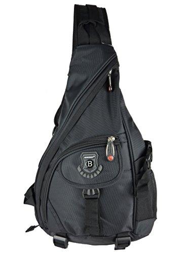 Sling Bag Schulterrucksack Daypack L15720 1 Träger Rucksack 40x30x15cm (schwarz)