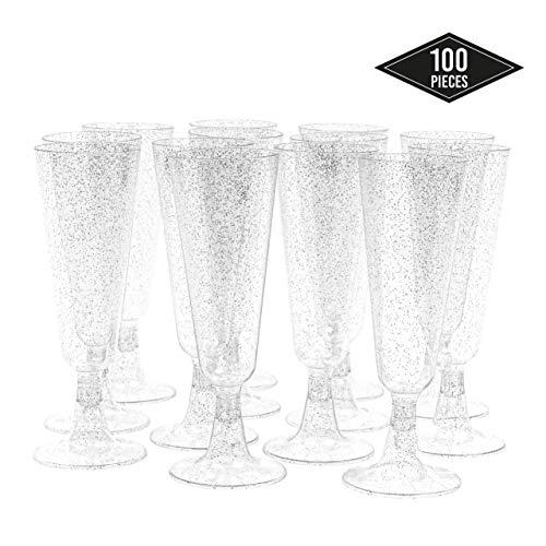 100 Copas Flautas de Champán de Plástico Desechables, 150ml - Brillo Plateado - Elegante, Resistente y...