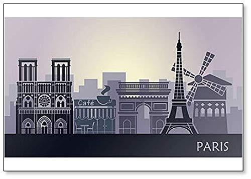 Aimant de réfrigérateur Skyline de Paris avec Tour Eiffel, Arc de Triomphe et Cathédrale Notre Dame
