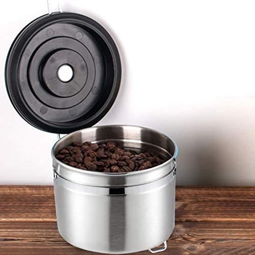 Koffiemachine 800ml roestvrij staal verzegeld voedsel koffie gronden bonen opslag container met ingebouwde CO2 gasklep en kalender (zwart) ZILVER