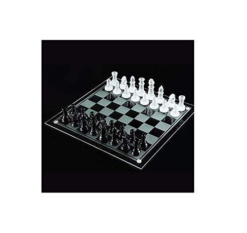 Lloow Conjuntos de ajedrez de Cristal - Establece Internacional de Ajedrez Juegos de Viaje de Juegos portátiles de Cristal Tablero de ajedrez con Vidrio cristalino de ajedrez Piezas de Juguetes 13'