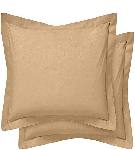 Comfort Beddings Juego de 2 fundas de almohada 100% algodón egipcio de 400 hilos, color gris pardo (tamaño continental/cuadrado, 65 x 65 cm)