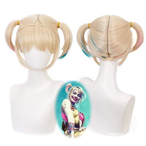 Birds of Prey Harley Quinn Short Ponytail Wig Cosplay Disfraz de pelo sinttico resistente al calor Harleen Quinzel Party Wigs