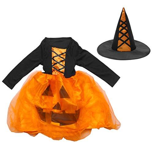 KESYOO Disfraz de Calabaza para Niños Vestido de Halloween Sombrero de Bruja Niñas Tutú para Cumpleaños Disfraz de Navidad de Halloween