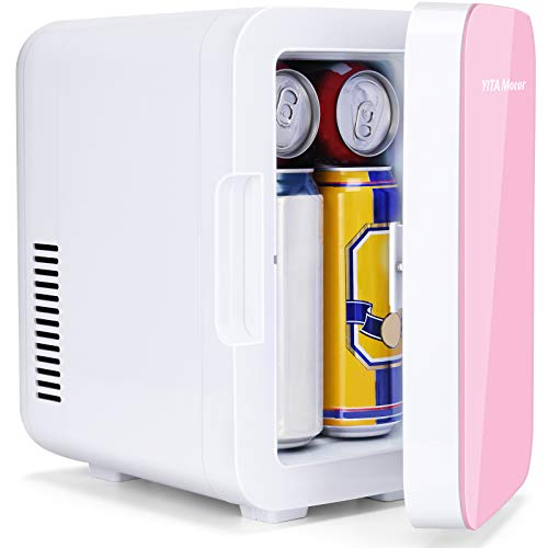 YITAMOTOR Mini Fridge 6 Liter/8 Can Compact Portable Personal Cooler and Warmer for Bedroom, Car, Office, Refrigerator for Skin Care Products, Breast Milk, Foods (Pink)