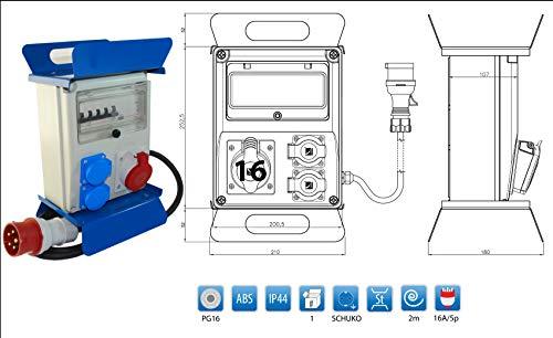 Mobiler Baustromverteiler 2 x 230 V/16A x 1CEE16A/400V + 2m Kabel + FI & LS Legrand