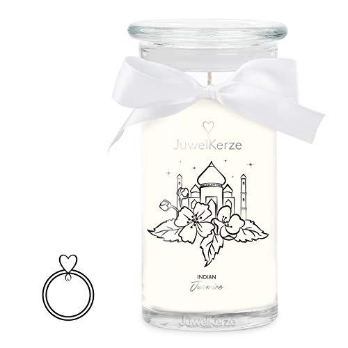 JuwelKerze 'Indian Jasmine' (Ring L|58-60) Schmuckkerze große weiß Duftkerze 925 Sterling Silber - Kerze mit Schmucküberraschung als Geschenk für sie/ihn