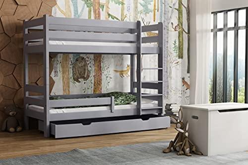 Children's Beds Home - Litera de madera maciza - Toby para niños y niños pequeños - Tamaño 180 x 80, color gris, cajón sí, colchón de látex de alta resistencia de 12 cm