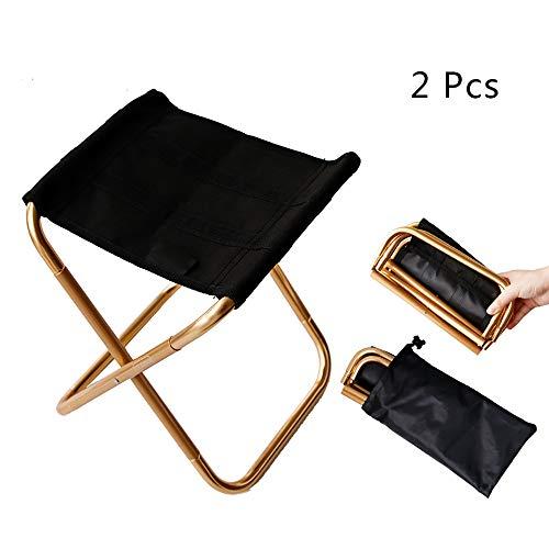 XIAOHE Chaise Pliante Portable extérieure, Cadre en Aluminium Ultra léger, siège Noir en Oxford, Jardin de Plein air pour la pêche Sportive,Gold*2