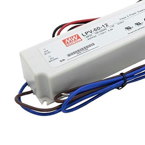 Transformador o Fuente de Alimentacion MEANWELL LPV-60-12 60W 12V Impermeable IP67 AC/DC Externo