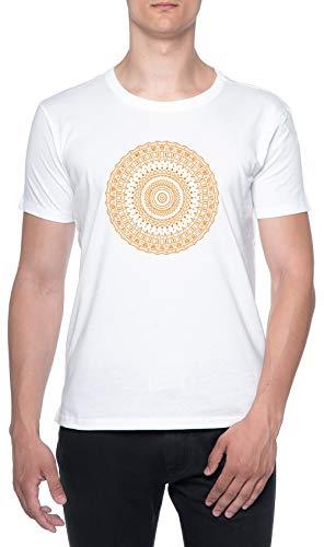 Dorado Circulo Energía Blanco Hombre Camiseta Mangas Cortas Tamaño S Mens T-Shirt White Size S