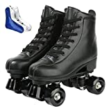 XUDREZ Roller Skate Shoes for Women Men PU Leather High-top Double-Row Roller Skates for Beginner, Professional Indoor Outdoor Roller Skates with Shoes Bag (Black Wheel,40)
