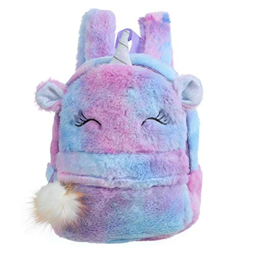 TENDYCOCO Backpack Kids Plush Unicorn School Bag Cute Cartoon Bookbag Furry Travel Daypacks for Baby Kids Girls - Violet