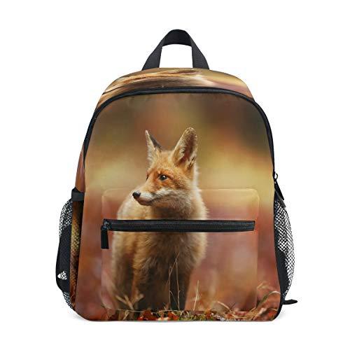 Chvon Kinder-Rucksack 3D Waldfuchs Ahorn Muster Kinder-Büchertasche mit Brustgurt Kindergarten Vorschule Kleinkind Schultasche für Jungen Mädchen