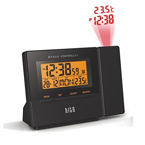 HITO Atomic Radio Controlled Projection Alarm Clock w/Date,...