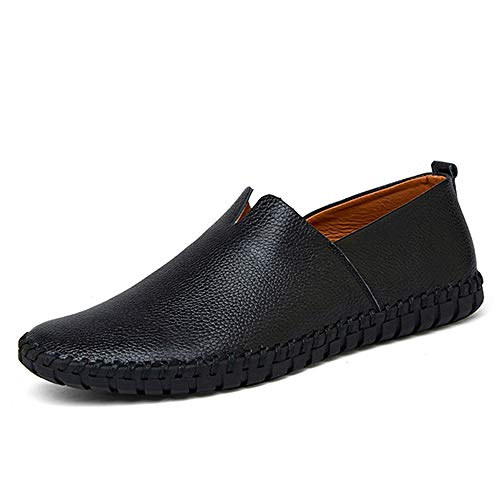 Large Size Men Genuine Leather Shoes Fashion Slip On Shoes for Men(Black,Lable 43/9 D(M) US Men)